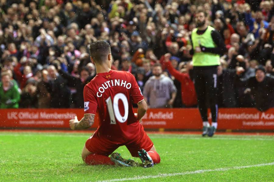 Philippe Coutinho of Liverpool celebrates scoring his sides first goal - Liverpool vs Crystal Palace